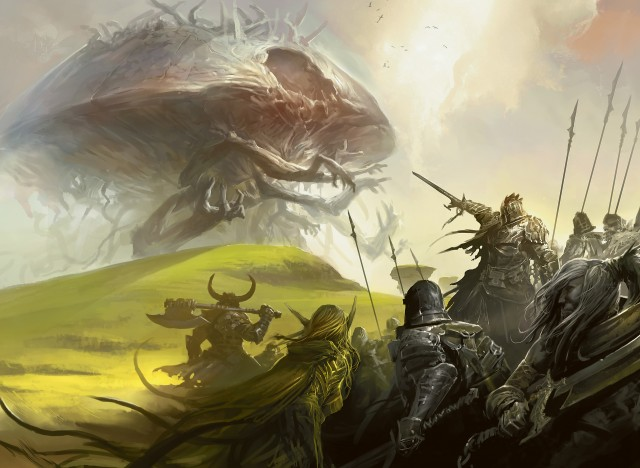 Rise of the Eldrazi – Army battles an Eldrazi (Magic the Gathering)