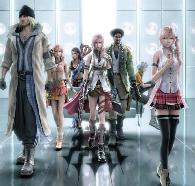 Les différents personnages jouables, exception fait de Serah tout à droite