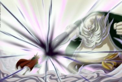 Attaque de fluide de Luffy contre Don Chinjao lors du tournois de Dressrosa lors de la saison 18