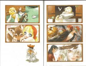 Planche couleur avec, en sens de lecture japonais : raiponce , les deux frères, les 12 chasseurs, Hansel et Gretel, le petit chaperon rouge, les musiciens de Brême