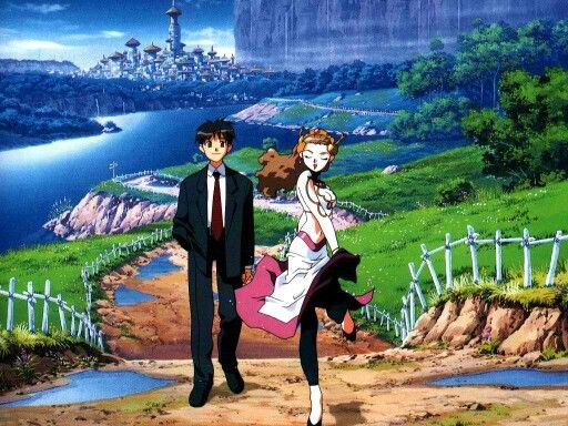 La princesse et Makoto dans la réadaptation de la série : El Hazard - le Monde Alternatif avec un joli visuel des décors en arrière plan