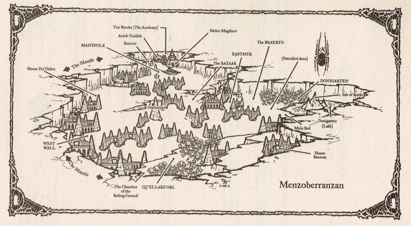 Plan de Menzoberranzan, une des plus grandes cités drow