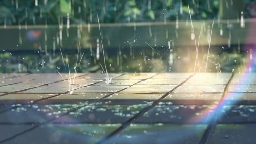 Un travail tout particulier sur la pluie qui sert de lien dans l'histoire