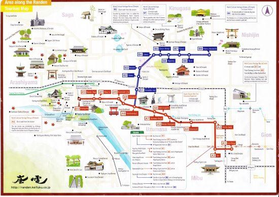 Carte d'Arashiyama en anglais