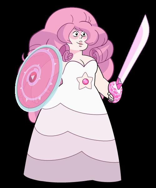 La mère de Steven avec l'épée et le bouclier magique dont il a hérité