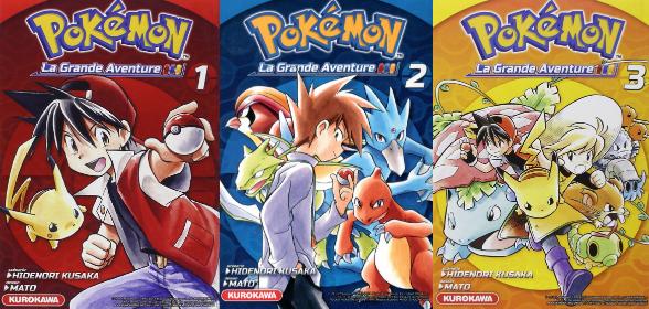 Les couvertures des trois volumes de Pokémon la Grande Aventure – Rouge-Bleu-Jaune