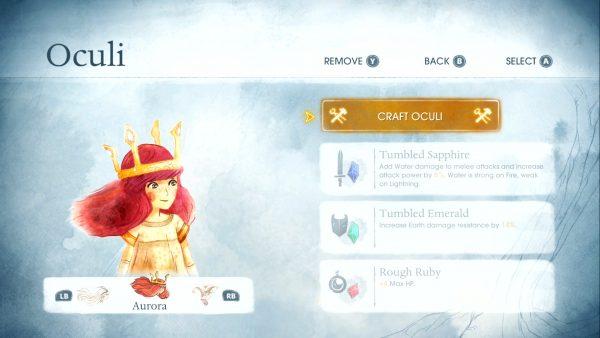 L'écran d'équipement des Oculi (image Gameradar)
