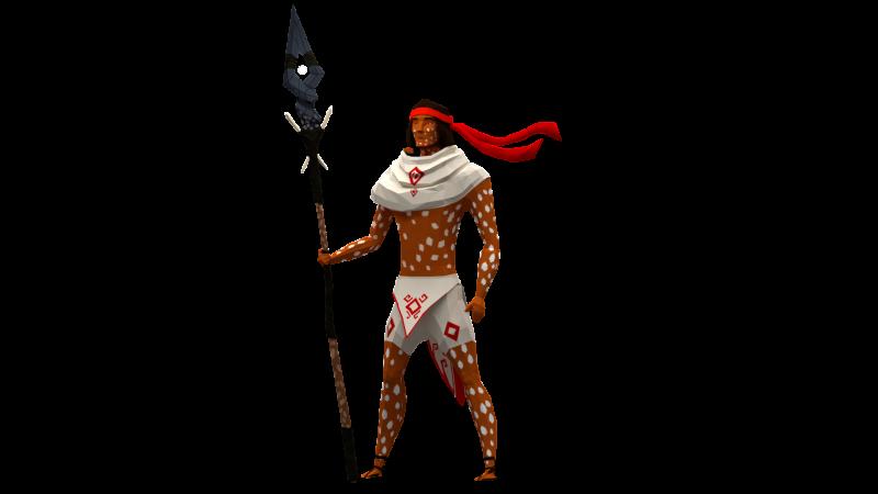 Le protagoniste principal de Mulaka, avec sa fidèle lance